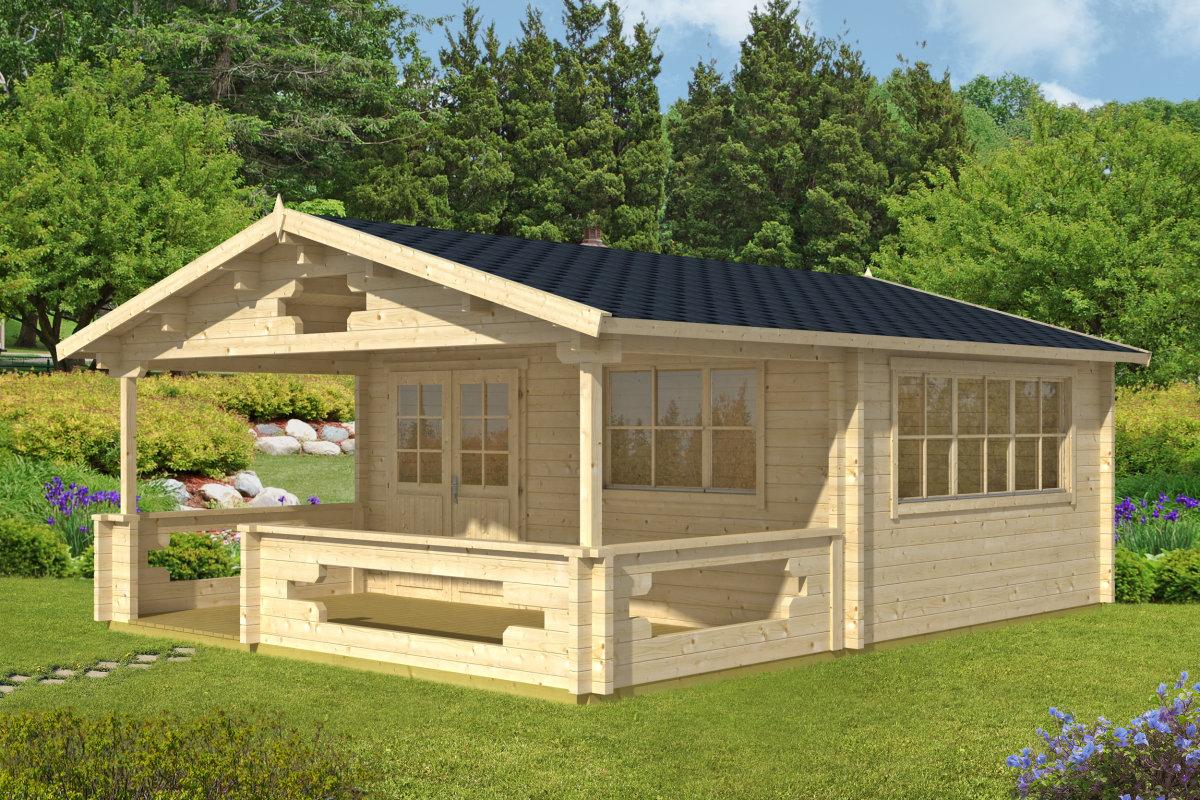 gartenhaus mit veranda armin 18 8m 70mm 5x7 hansagarten24. Black Bedroom Furniture Sets. Home Design Ideas