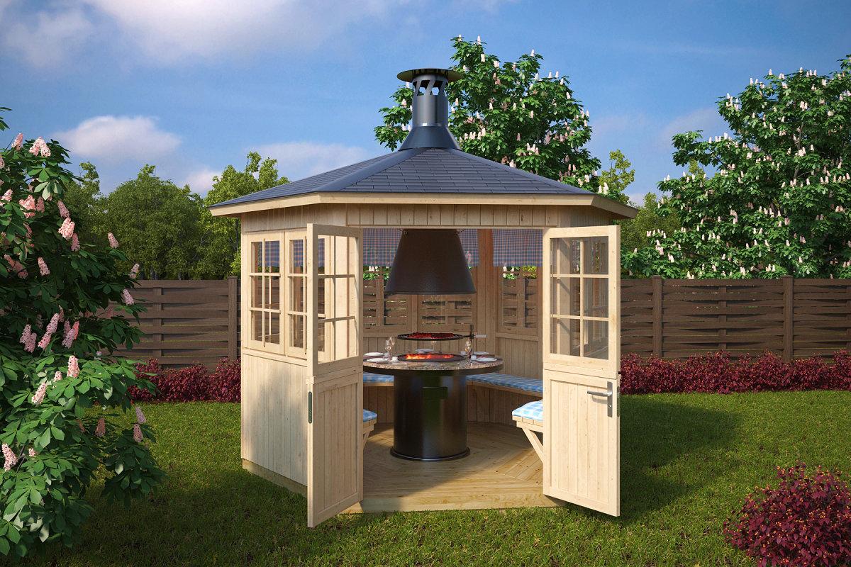 grillpavillon grillh tte festival 6 m 21mm 3x3m hansagarten24. Black Bedroom Furniture Sets. Home Design Ideas