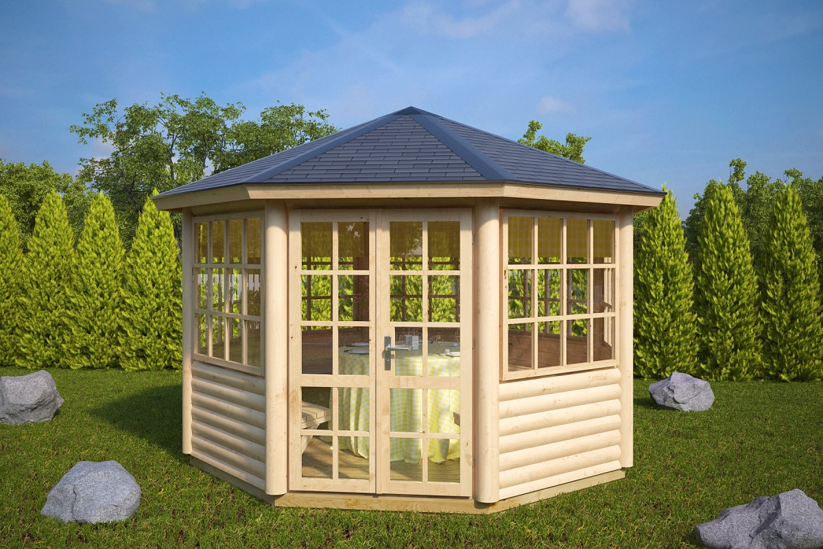 8 eck gartenpavillon seattle l 9m 55mm 3x4. Black Bedroom Furniture Sets. Home Design Ideas