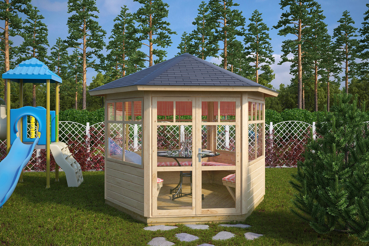 6 eck gartenpavillon paradise 6 m 42mm 3x3 hansagarten24. Black Bedroom Furniture Sets. Home Design Ideas
