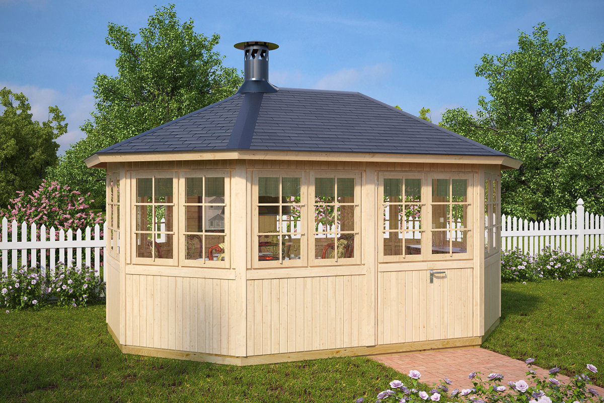 gartenhaus mit grill albatros 12 m 21mm 3x5 hansagarten24. Black Bedroom Furniture Sets. Home Design Ideas