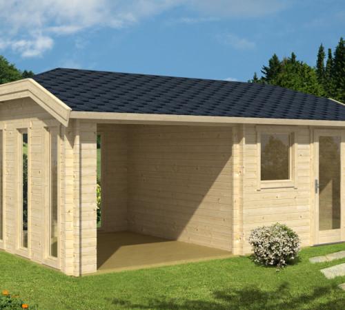 gartenhaus mit vordach und terrasse carol b 9m 40mm. Black Bedroom Furniture Sets. Home Design Ideas