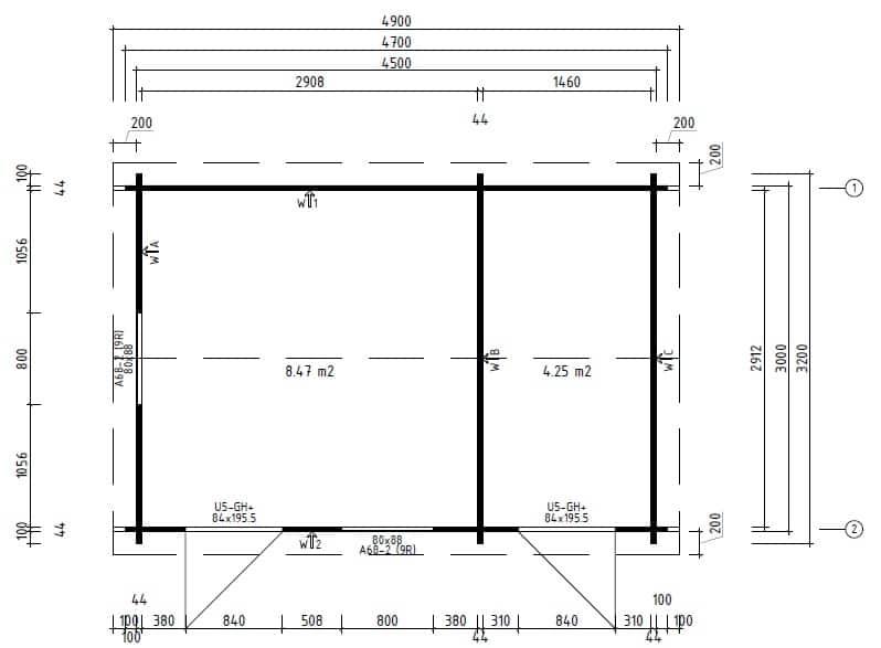 duplex holz ger tehaus gartenhaus 2 r ume bora 13m. Black Bedroom Furniture Sets. Home Design Ideas