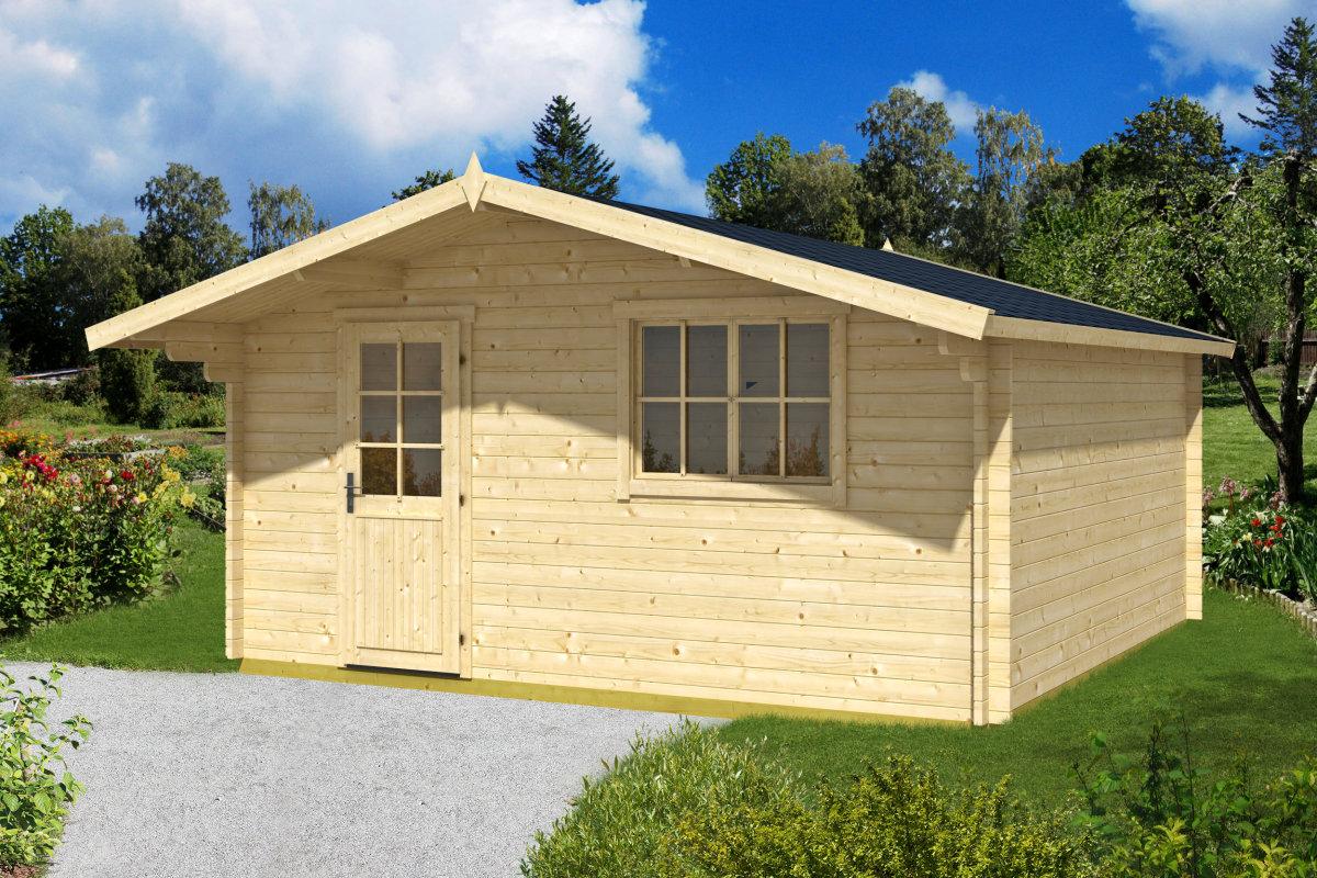 gartenhaus mit vordach garden weekend xl 19 1m 40mm 5x5 hansagarten24. Black Bedroom Furniture Sets. Home Design Ideas