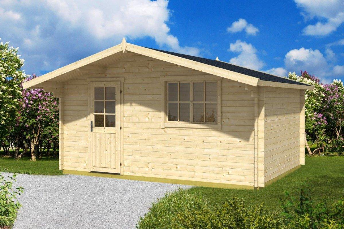 gartenhaus mit vordach garden weekend 14 2m 40mm 3x5. Black Bedroom Furniture Sets. Home Design Ideas