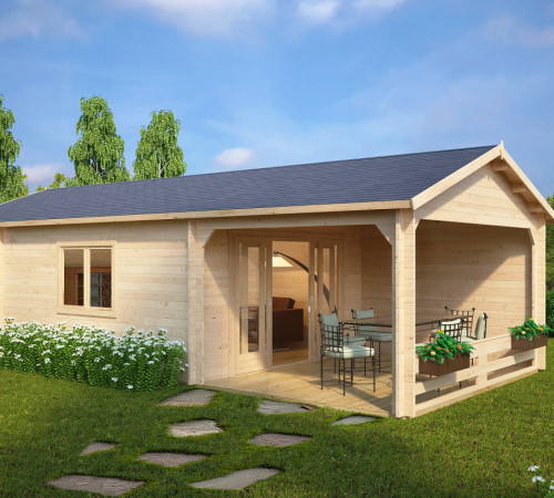 gr es gartenhaus mit terrasse heinz 22m 50mm 4x9. Black Bedroom Furniture Sets. Home Design Ideas