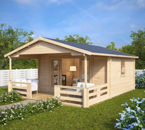 holz gartenhaus mit schiebet r franz 15m 44mm 4x5. Black Bedroom Furniture Sets. Home Design Ideas