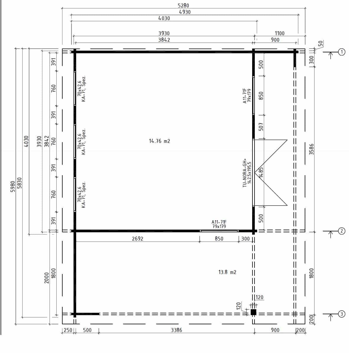 Modernes Gartenhaus mit Terrasse Hansa Lounge XL 15mu00b2 ...
