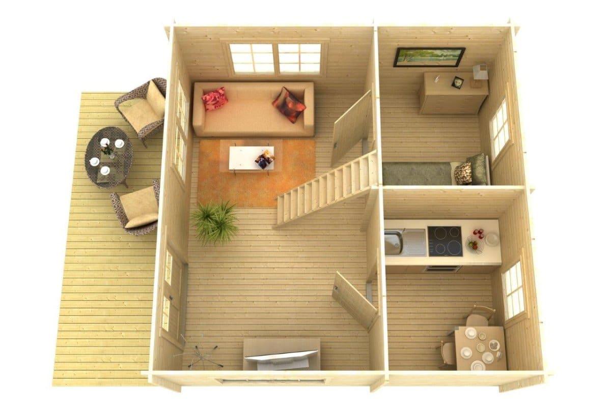 gartenhaus mit dachterrasse stockholm 25m 50mm 5x5 hansagarten24. Black Bedroom Furniture Sets. Home Design Ideas