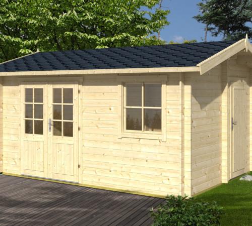 gartenhaus mit ger teraum gustav 10 5m 28mm 3x4 hansagarten24. Black Bedroom Furniture Sets. Home Design Ideas
