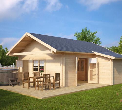 gr e gartenhaus mit terrasse dallas 42 5m 70mm 7x7. Black Bedroom Furniture Sets. Home Design Ideas