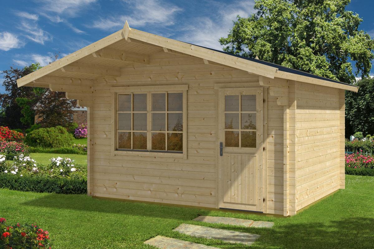 gartenhaus mit vordach johanna a 12 5m 50mm 3x4. Black Bedroom Furniture Sets. Home Design Ideas