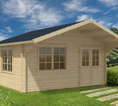 gr e gartenhaus mit vordach karmen 18m 50mm 4x5 hansagarten24. Black Bedroom Furniture Sets. Home Design Ideas