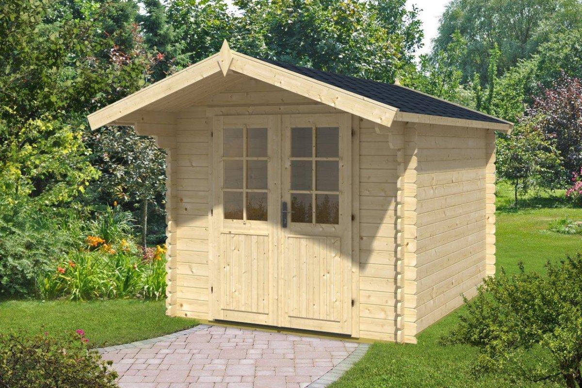gartenhaus mit vordach lily l 6 2m 28mm 2x3 hansagarten24. Black Bedroom Furniture Sets. Home Design Ideas