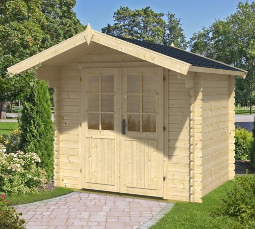 kleines gartenhaus mit vordach lily s 4m 28mm 2x2 hansagarten24. Black Bedroom Furniture Sets. Home Design Ideas