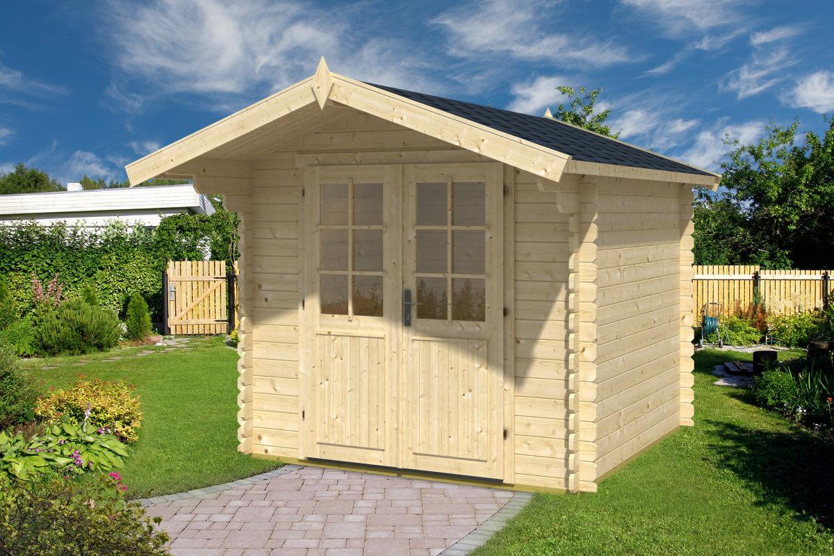 holz gartenhaus mit vordach lily m 5m 28mm 2 5x2 5 hansagarten24. Black Bedroom Furniture Sets. Home Design Ideas