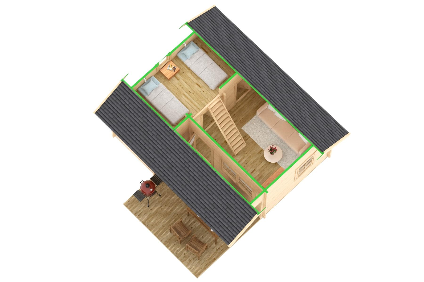 gr e gartenhaus mit terrasse oklahoma 26 4m 70mm 5x6. Black Bedroom Furniture Sets. Home Design Ideas