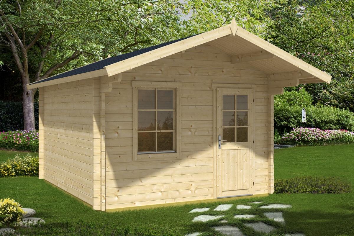 gartenhaus mit vordach oslo xl 50mm 3x4. Black Bedroom Furniture Sets. Home Design Ideas