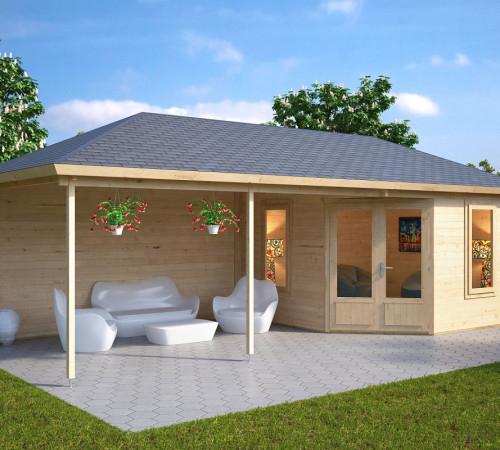 Gartenhaus mit dachterrasse sophia 10m 44mm 3x3 hansagarten24 - Gartenhaus aus beton ...
