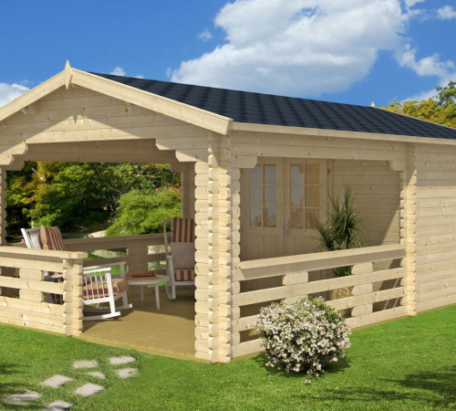 gartenhaus mit veranda vera 19 m 40mm 4x6 hansagarten24. Black Bedroom Furniture Sets. Home Design Ideas