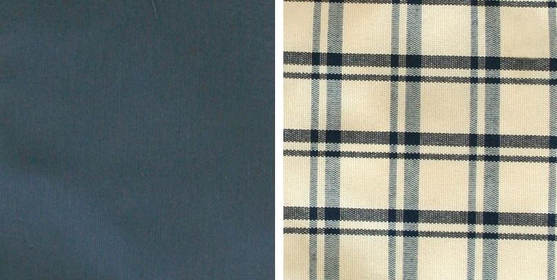 Vorhang und Sitzkissen Blau