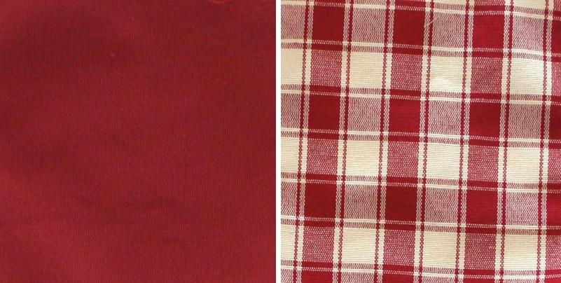 Vorhang und Sitzkissen Rot