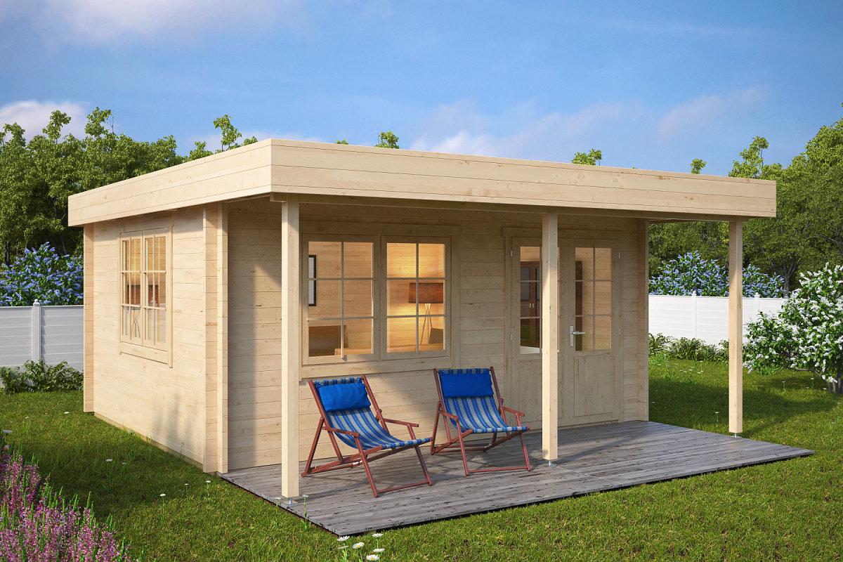 holz gartenhaus mit vordach ian c 18m 50mm 4x5 hansagarten24. Black Bedroom Furniture Sets. Home Design Ideas