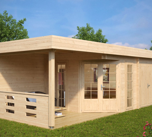 gartenhaus mit ger teraum paula 12 5m 40mm 3x7 hansagarten24. Black Bedroom Furniture Sets. Home Design Ideas
