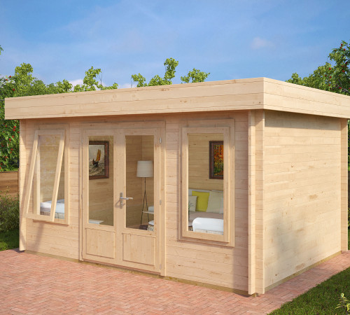 gartenhaus als b ro jacob d 12m 40mm 3x4 hansagarten24. Black Bedroom Furniture Sets. Home Design Ideas