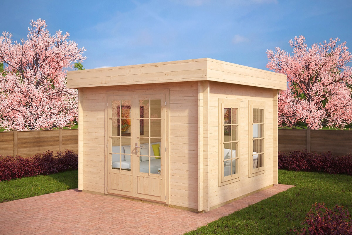 gartenhaus mit flachdach lucas b 8 5m 40mm 3x3. Black Bedroom Furniture Sets. Home Design Ideas