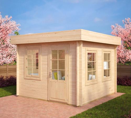 holz gartenhaus mit flachdach lucas c 8 5m 40mm 3x3. Black Bedroom Furniture Sets. Home Design Ideas