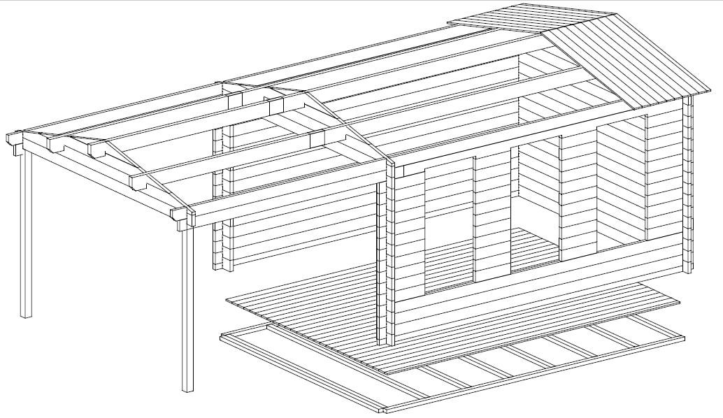 gartenhaus mit terrasse eva e 12m 44mm 3x4. Black Bedroom Furniture Sets. Home Design Ideas