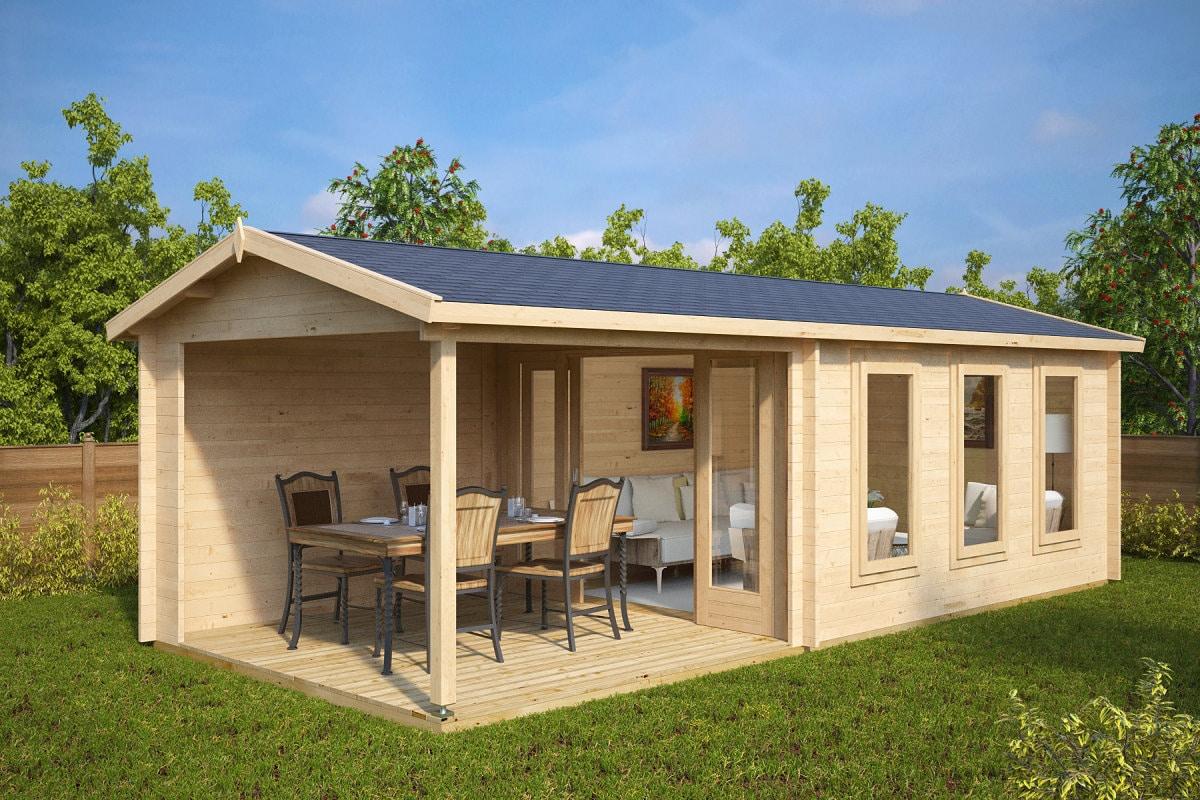 gartenhaus mit veranda eva e 12m 44mm 3x7 hansagarten24. Black Bedroom Furniture Sets. Home Design Ideas