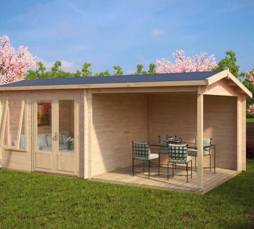 gartenhaus mit terrasse nora d 9m 44mm 3x6. Black Bedroom Furniture Sets. Home Design Ideas