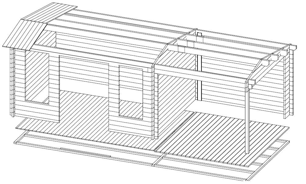 Gartenhaus Holz Mit Terrasse ~   Wandstärke  Holz Gartenhaus mit Terrasse Eva D 12m²  44mm  3×7