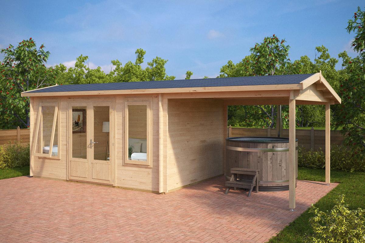 Holzhaus mit Terrassendach Eva D 12m² / 44mm / 3x4 ...